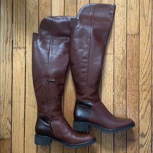 Cole Haan Knee Tall Riding Boots Brown Leather